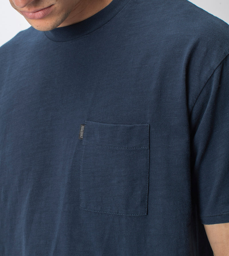 Slub Box Pocket Tee Washed Ink