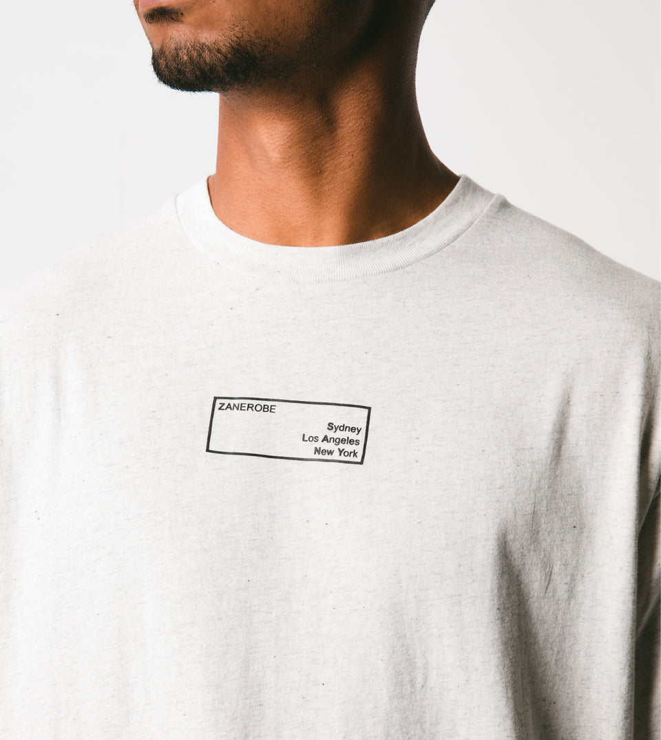 Business Box Tee White Marle - Sale