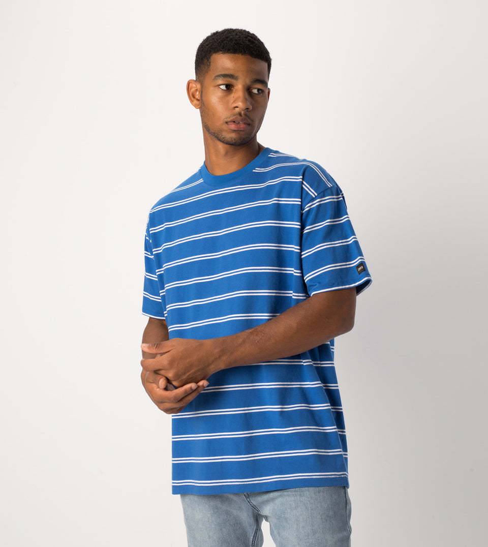 Channel Box Tee Cobalt/White - Sale