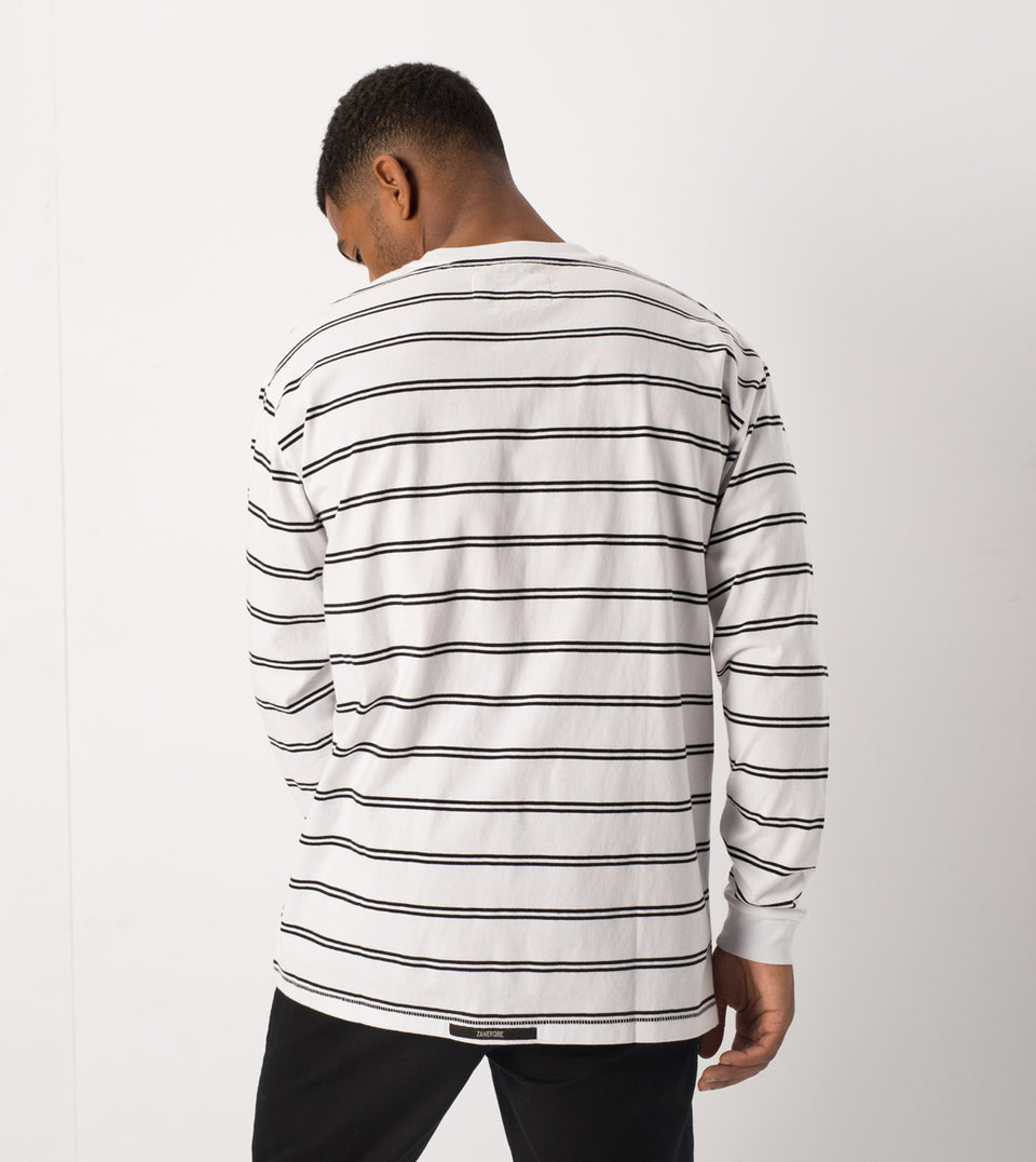 Channel Box LS Tee White/Black
