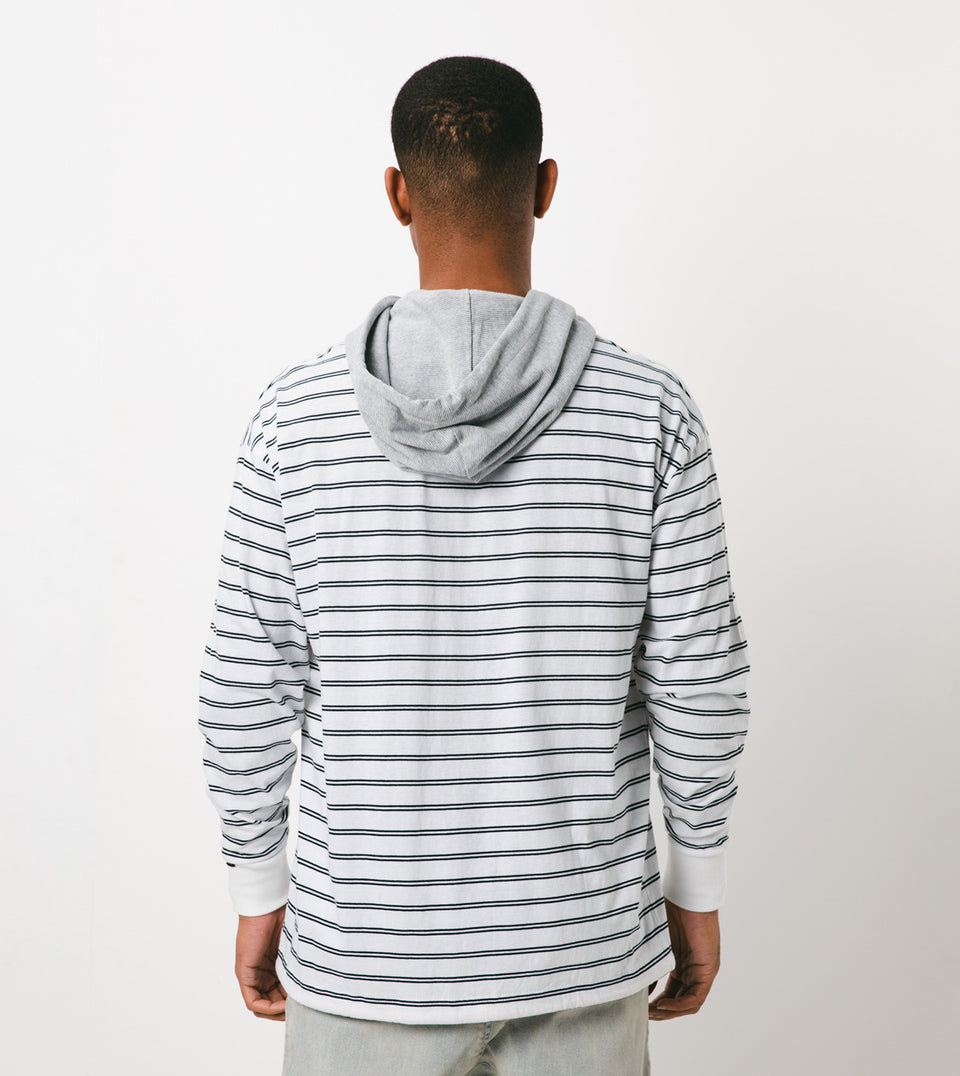 Channel Rugger Hood LS Tee White/Black - Sale