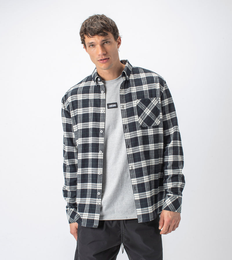 Checker Flannel LS Shirt Black/Milk