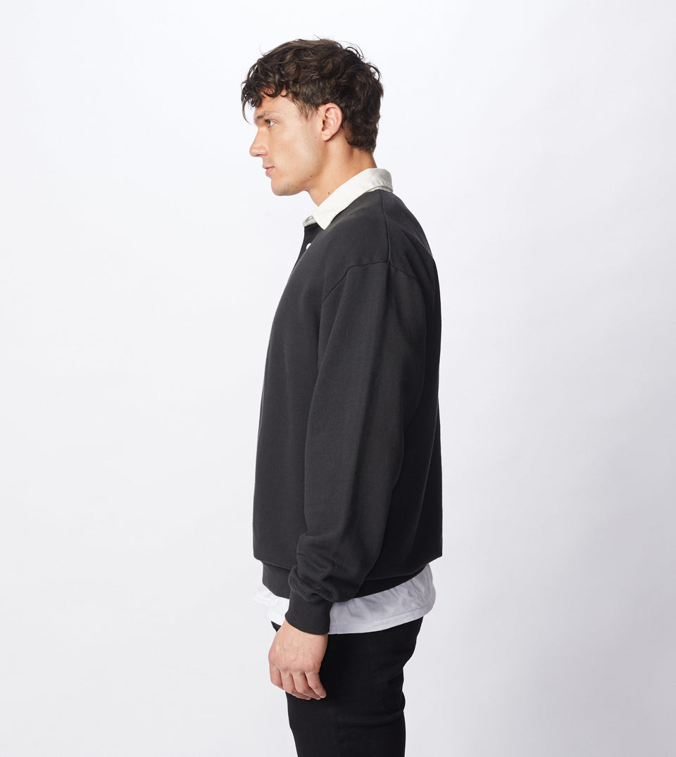 Contrast Rugger Polo Sweat Black/Milk