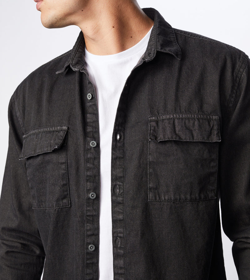 Denim LS Shirt Archive Black