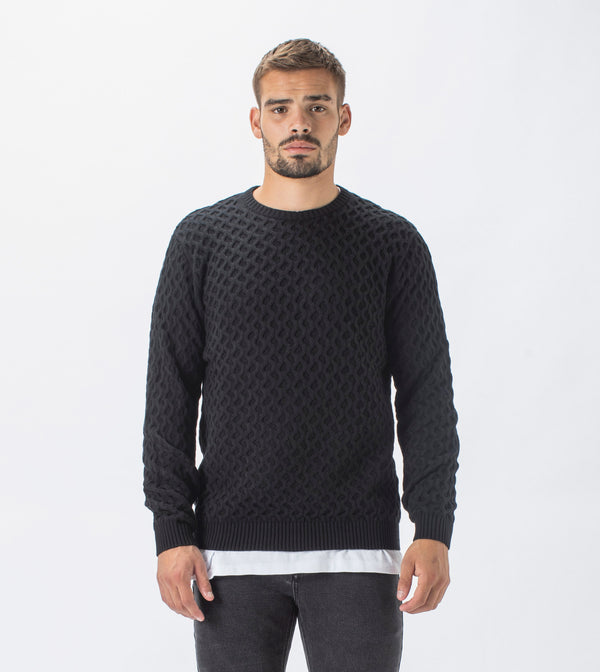 Diamond Crew Knit Black
