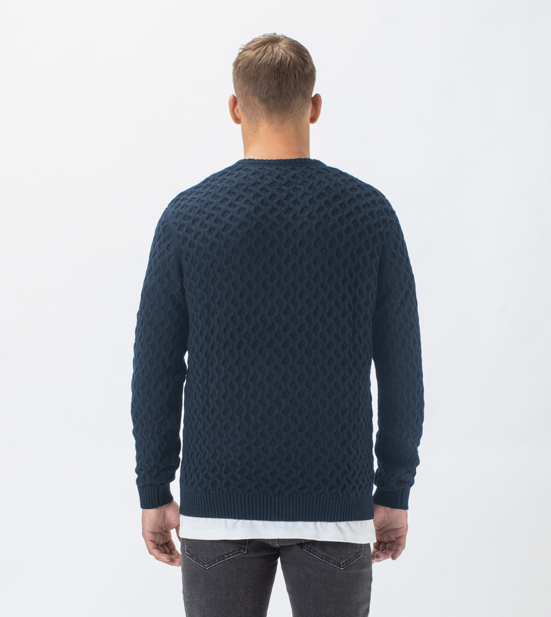 Diamond Crew Knit Navy