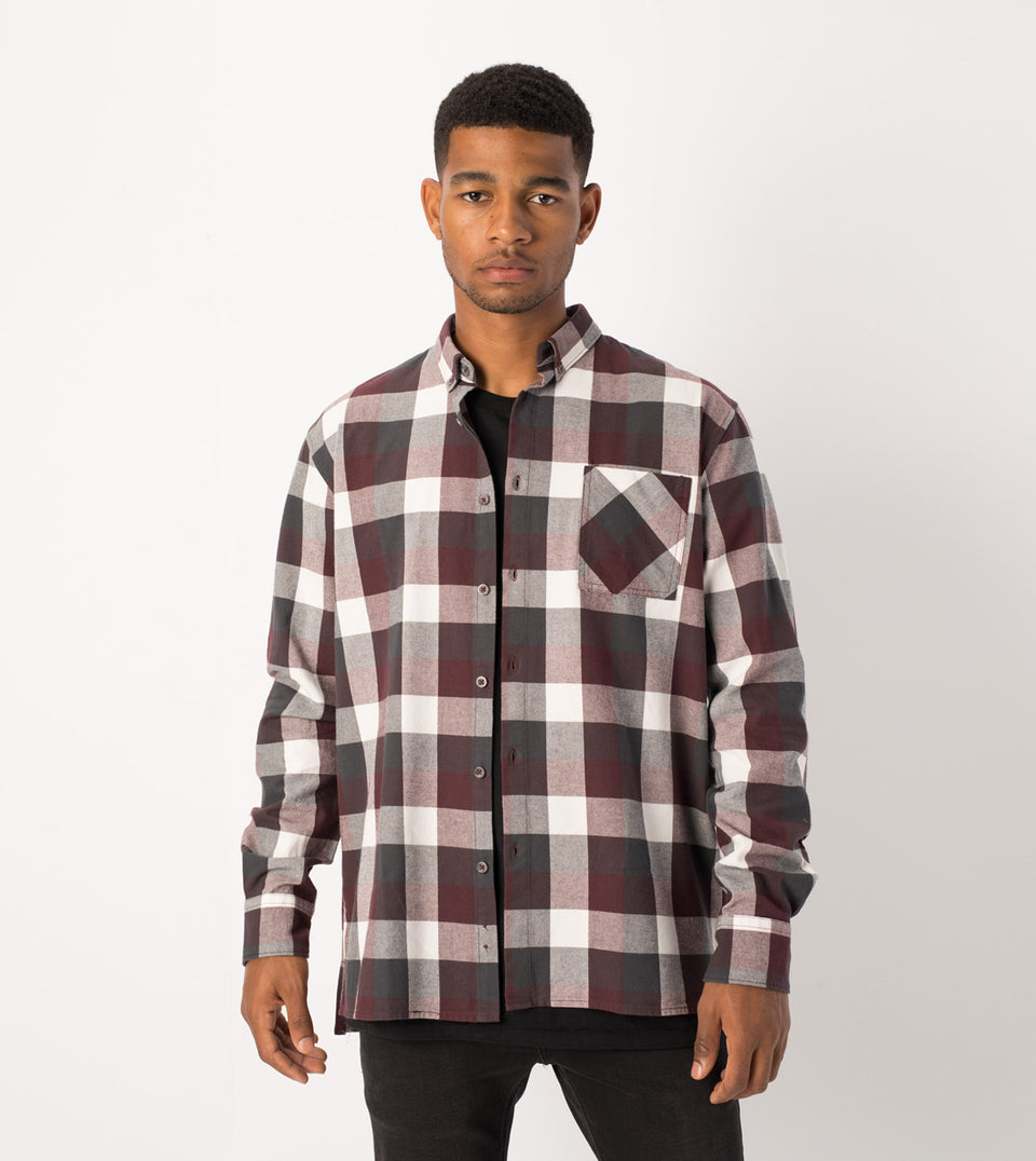 Flannel LS Shirt Port/Vintage Black - Sale
