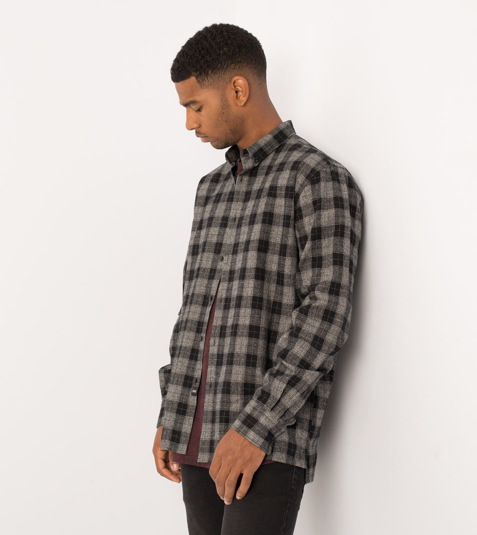 Flannel LS Shirt Black/Grey Marle