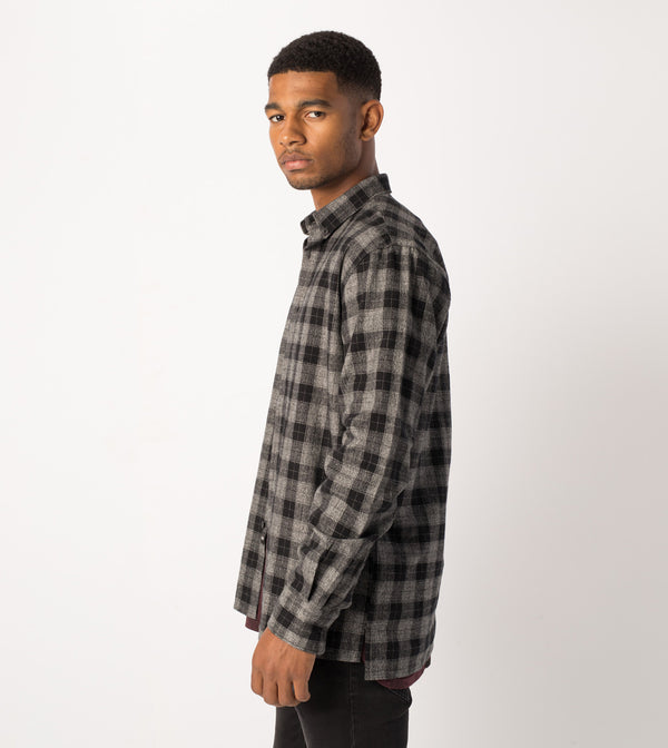 Flannel LS Shirt Black/Grey Marle - Sale