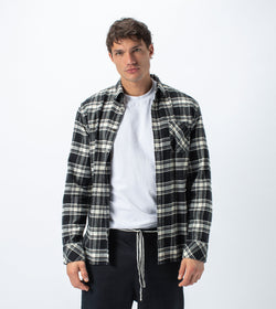 Flannel Lightweight LS Shirt Black/Milk - Sale