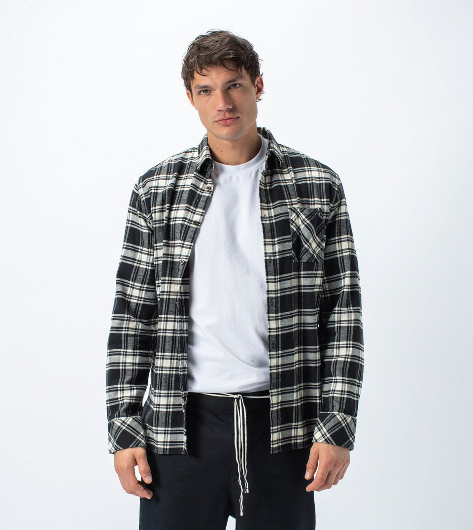 Flannel Lightweight LS Shirt Black/Milk
