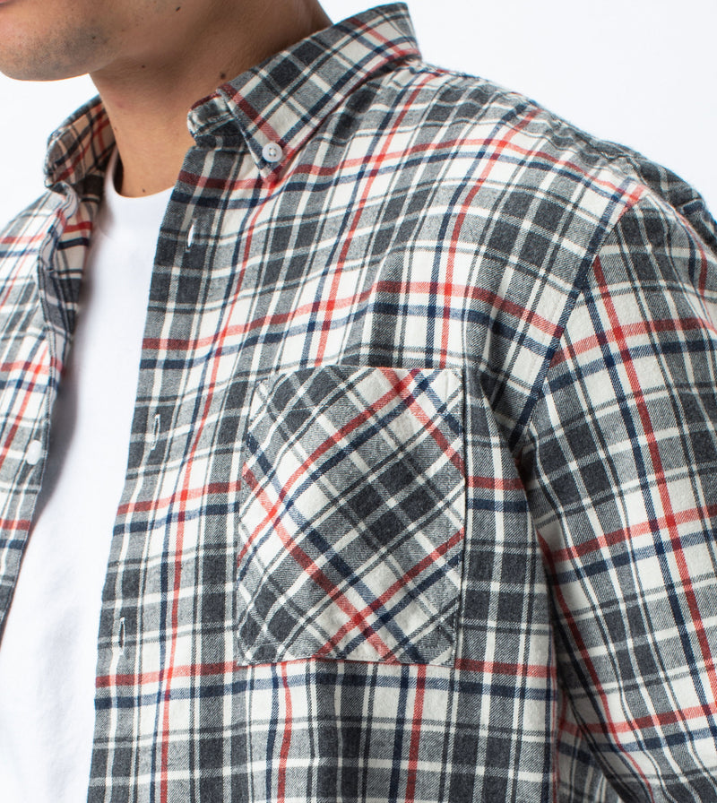 Flannel Lightweight LS Shirt Milk/Grey - Sale