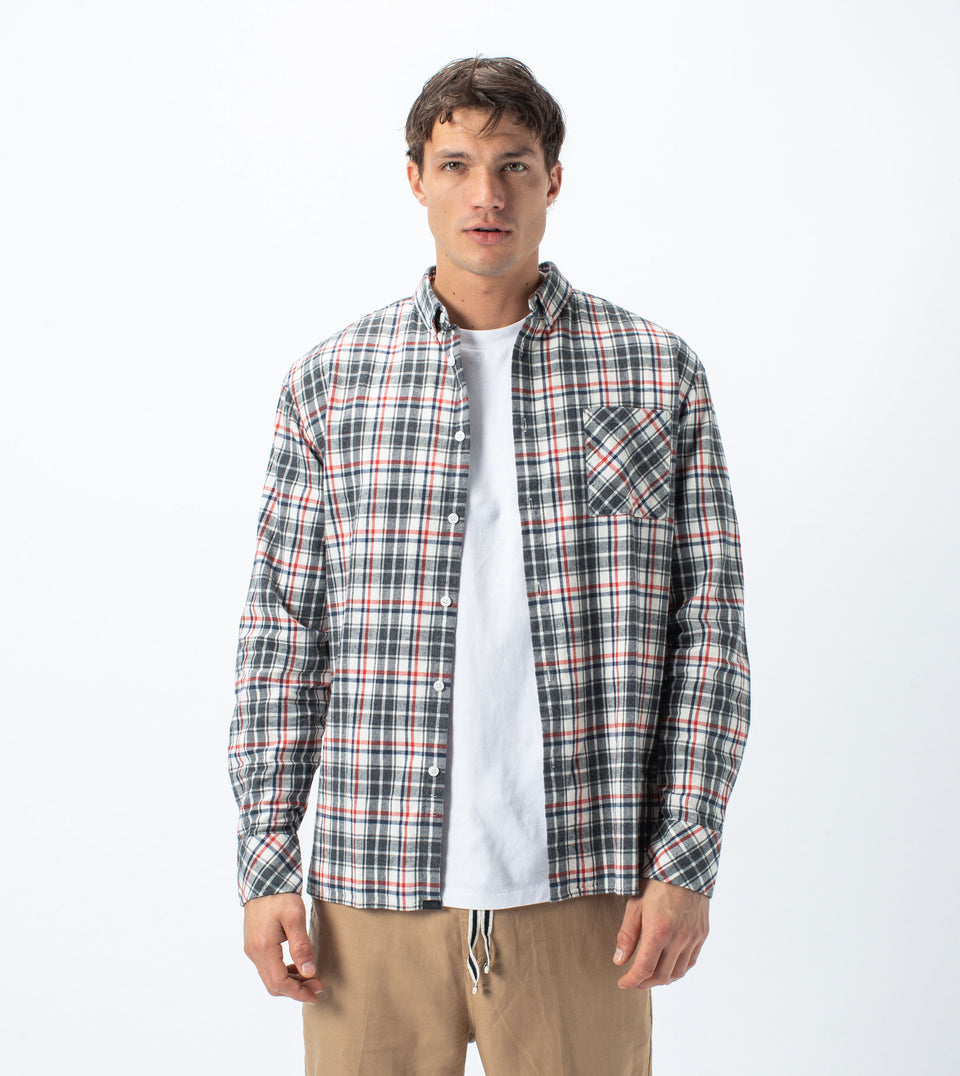 Flannel Lightweight LS Shirt Milk/Grey