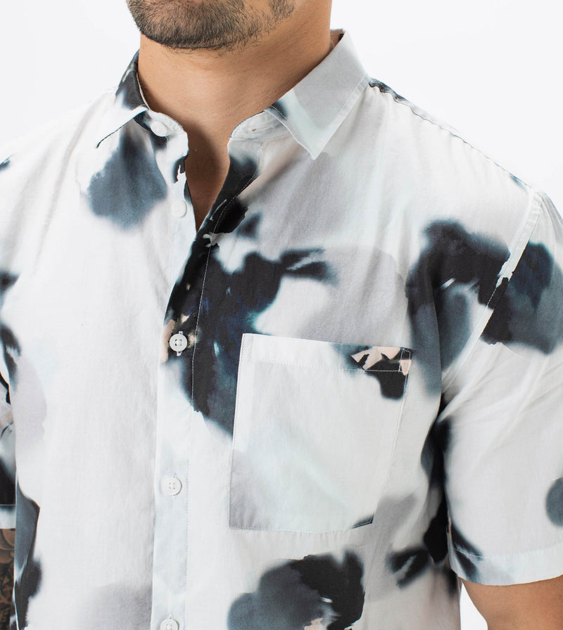 Floating Floral SS Shirt White
