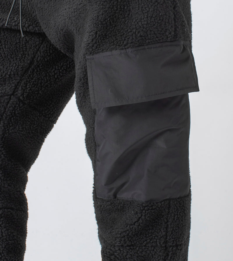 Jumpa Cargo Shearling Fleece Jogger Black