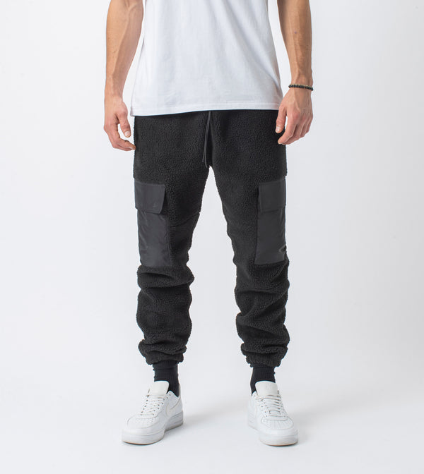 Jumpa Cargo Shearling Fleece Jogger Black - Sale