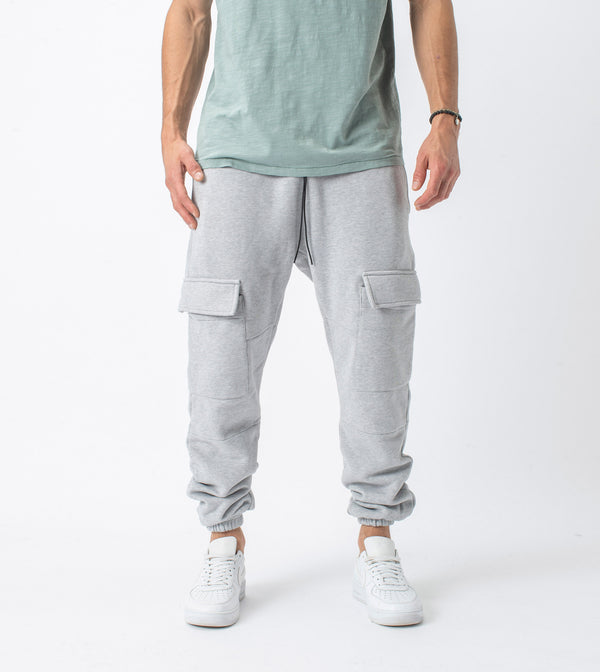 Jumpa Cargo Sweat Fleece Jogger Silver Marle - Sale