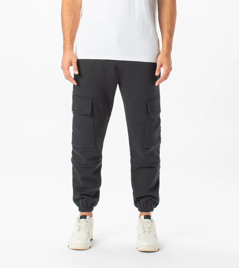 Jumpa Cargo Sweat Fleece Jogger Black