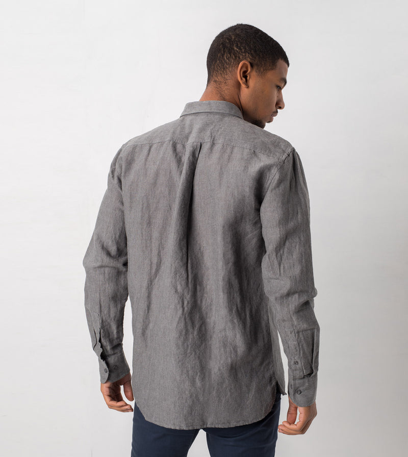 Linen LS Shirt Grey Marle