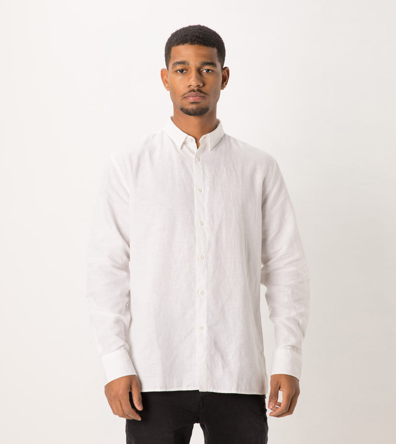 Linen LS Shirt White