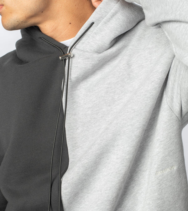 Lowgo Splice Hood Sweat Silver Marle/Black - Sale