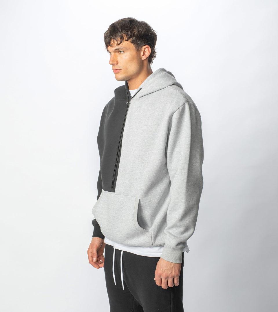 Lowgo Splice Hood Sweat Silver Marle/Smokey Black