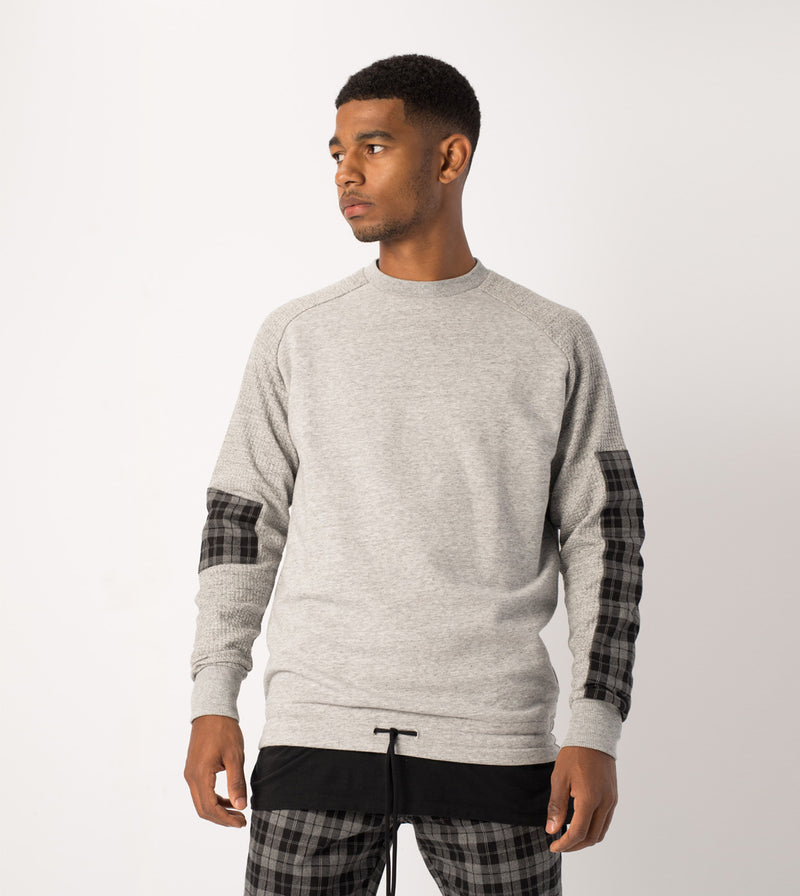 Media Rugger Crew Sweat Grey Marle