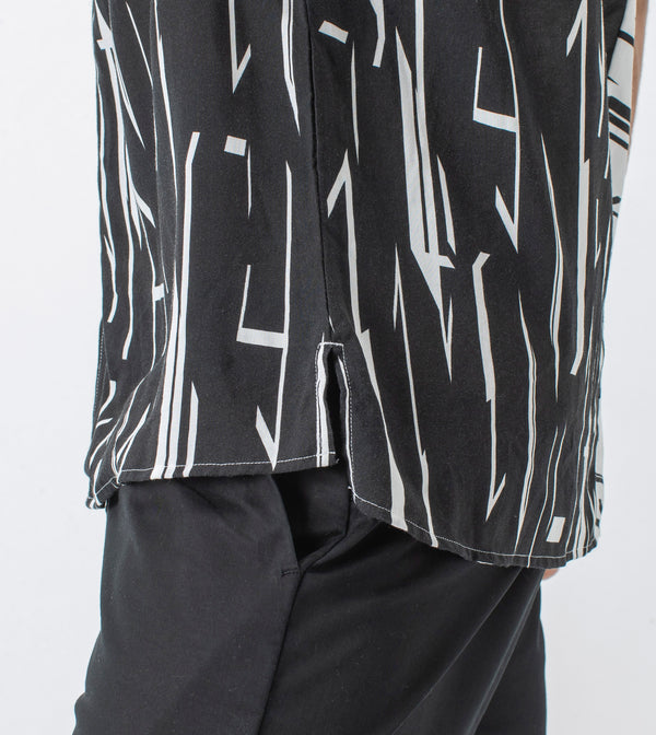 Mono Geo Splice SS Shirt White/Black - Sale