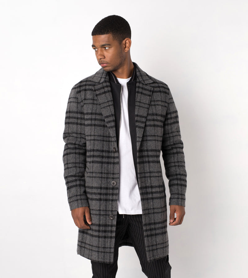 NY Melton Coat Char/Black