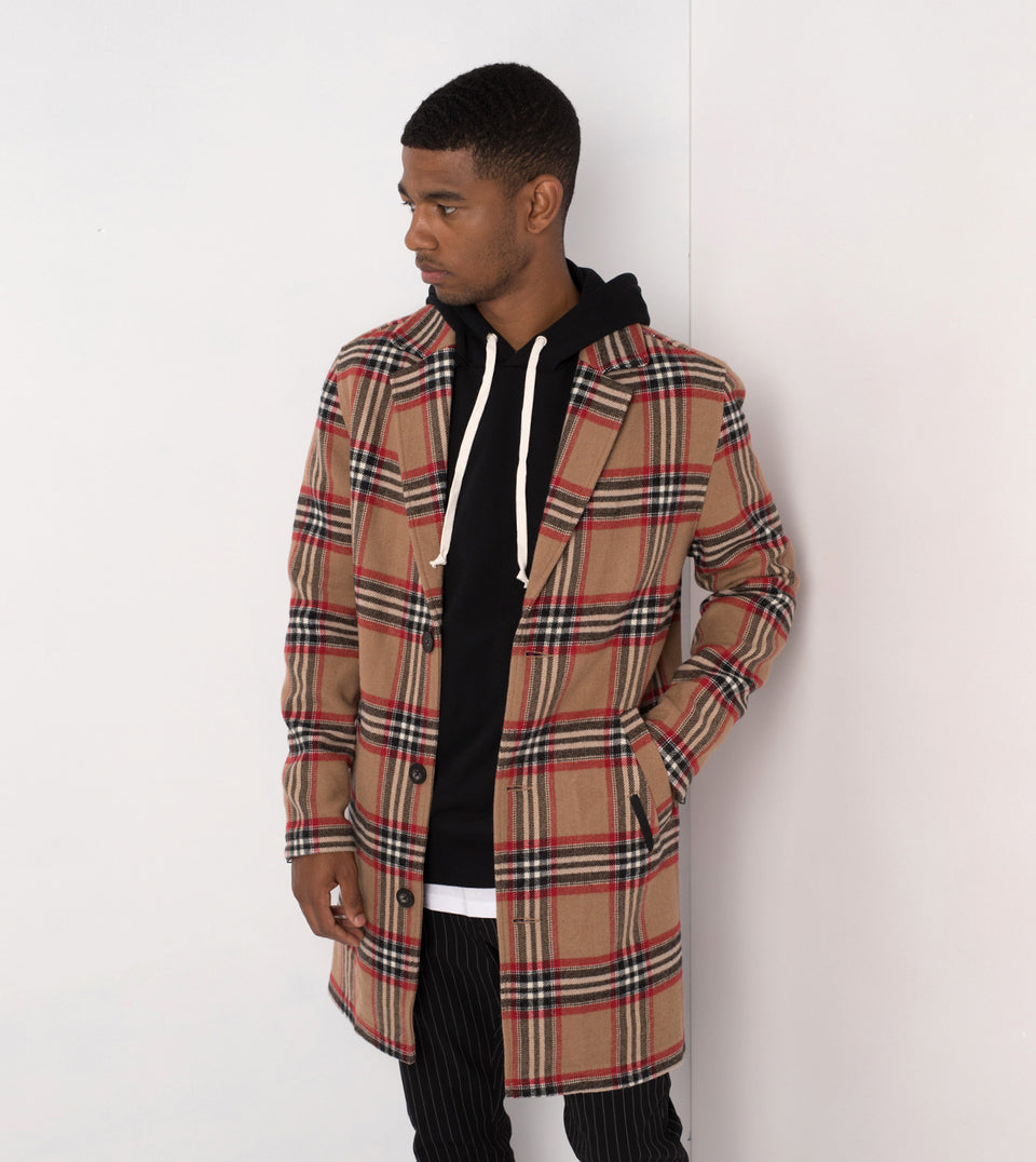 NY Melton Coat Wheat/Crimson