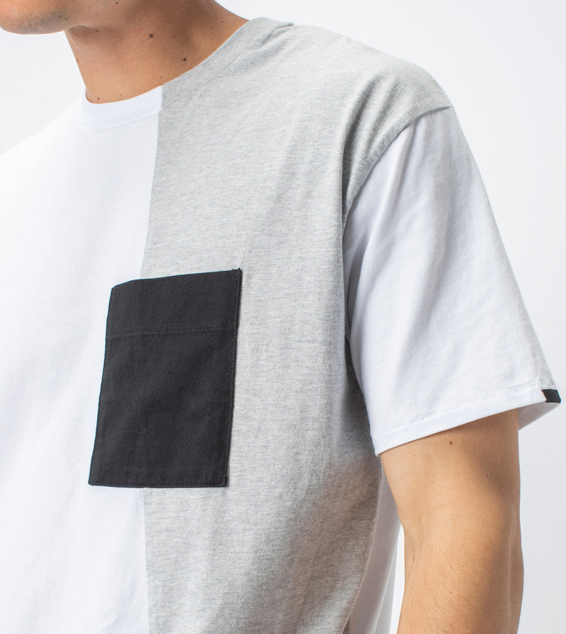 Overlay Box Tee White/Silver Marle