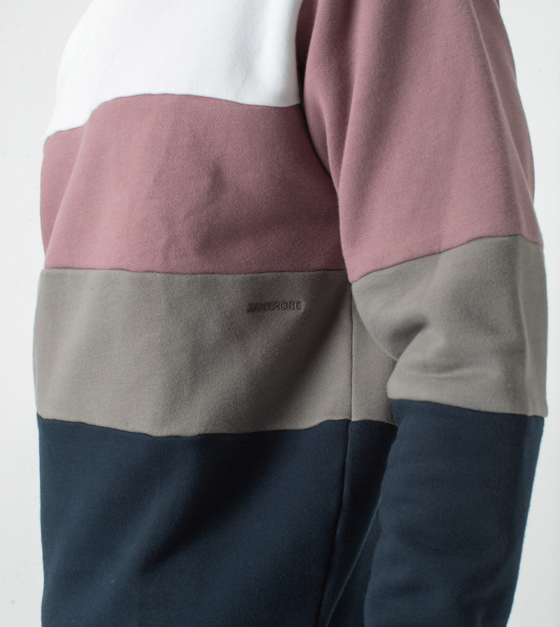 Panel Crew Sweat White/Dk Musk