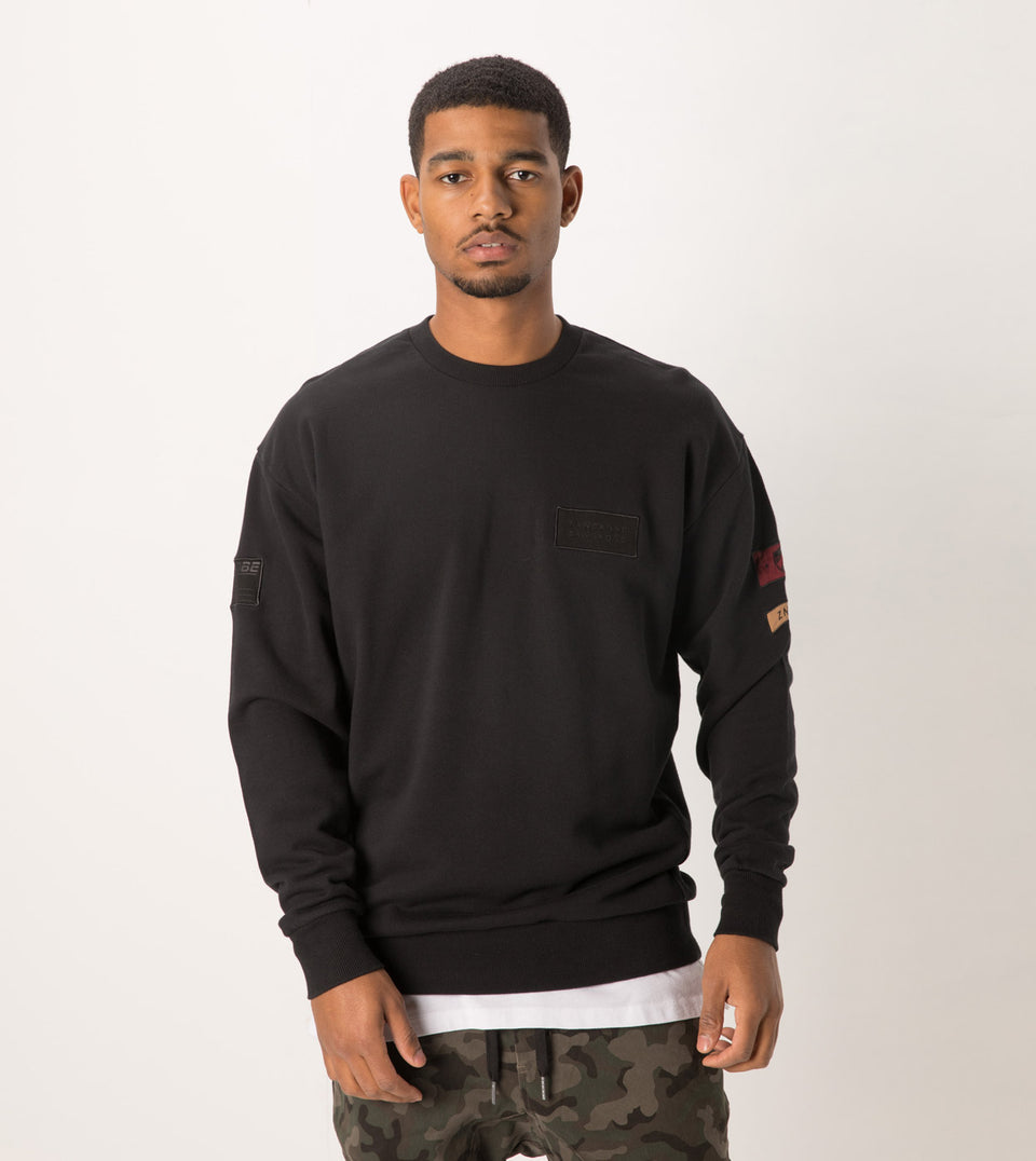 Patch Rugger Crew Sweat Black