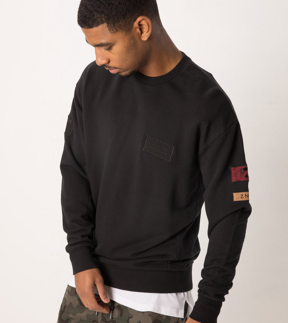 Patch Rugger Crew Sweat Black - Sale