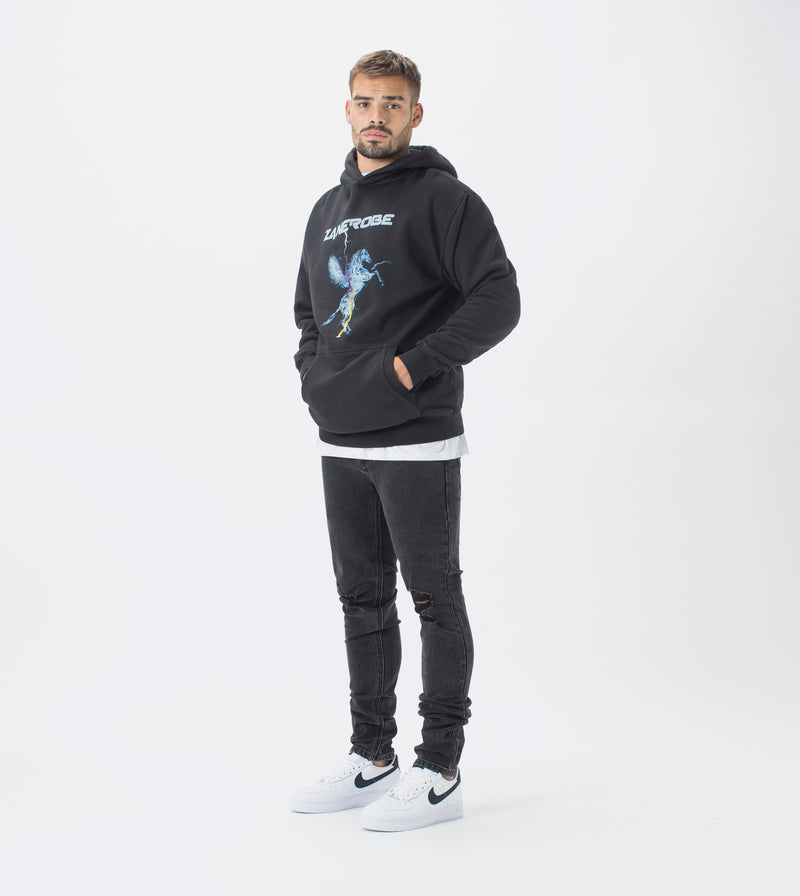 Pegasus Lowgo Hood Sweat GD Black