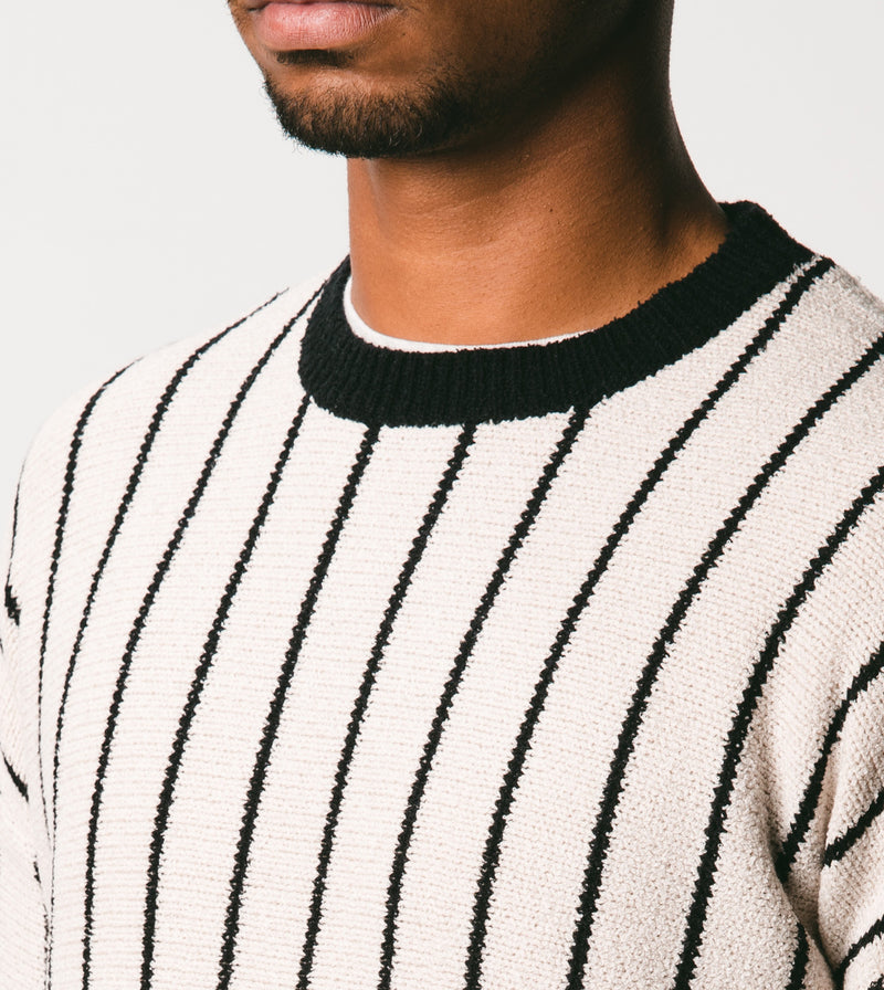 Pinstripe Chunk Crew Knit Shell/Black - Sale