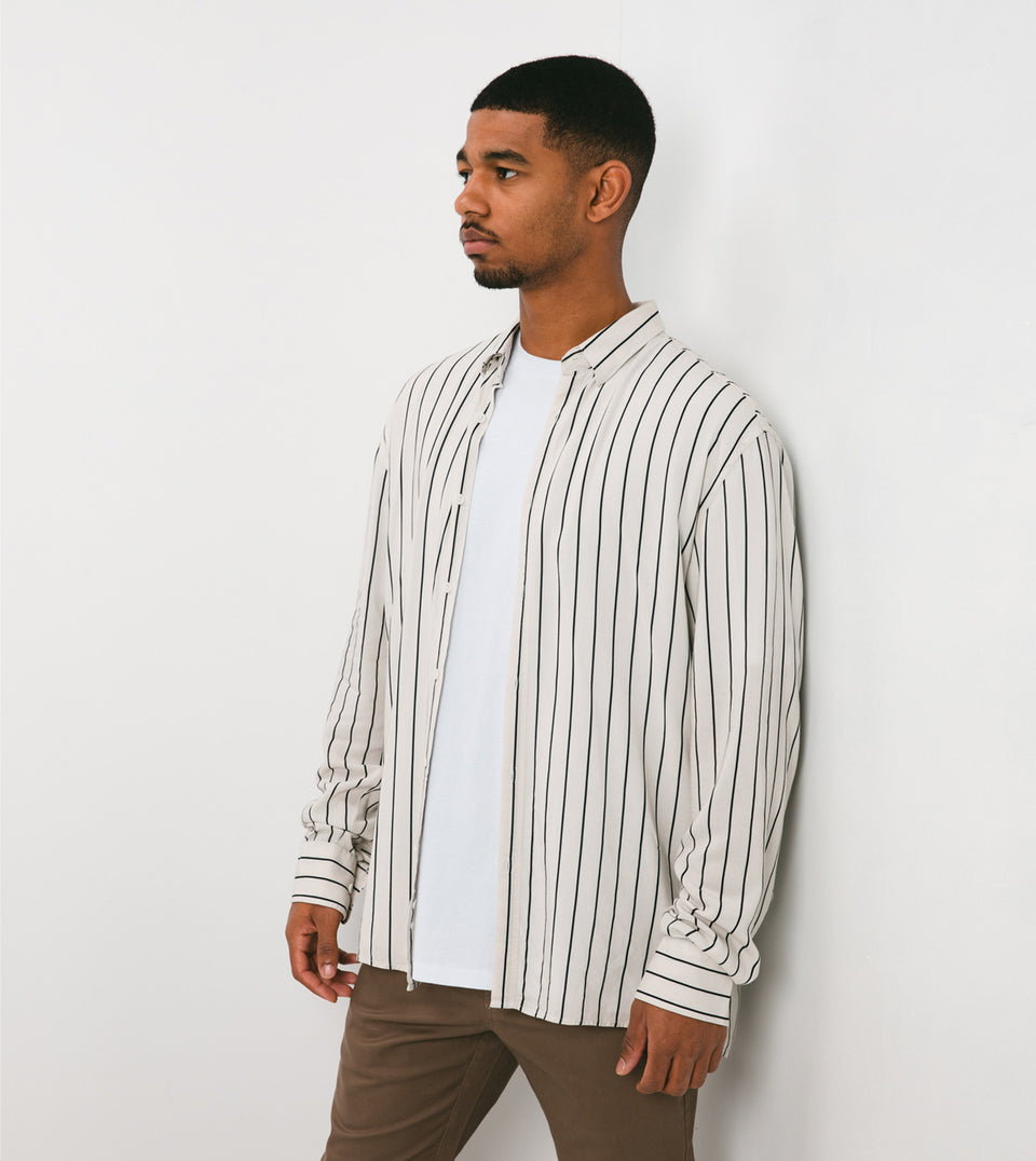 Pinstripe LS Shirt Shell/Black