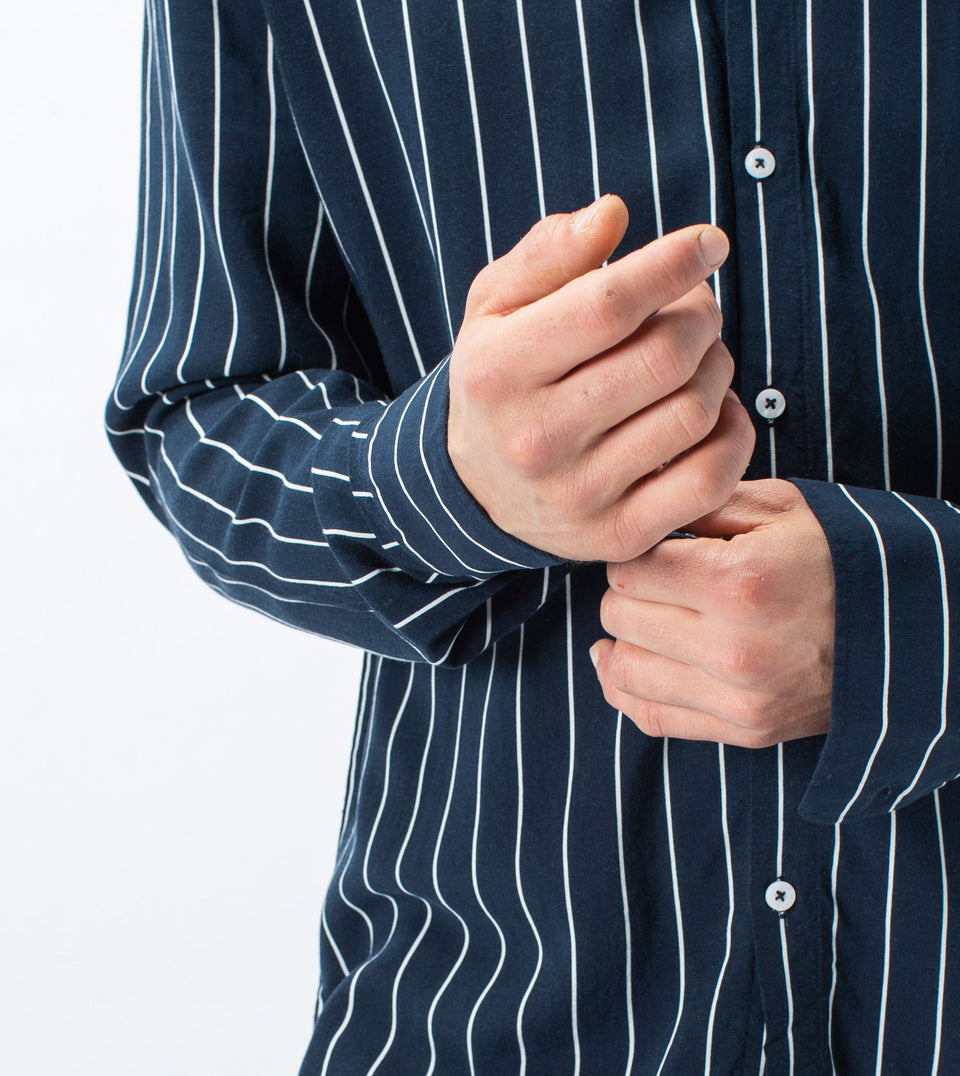 Pinstripe LS Shirt Ink/Milk