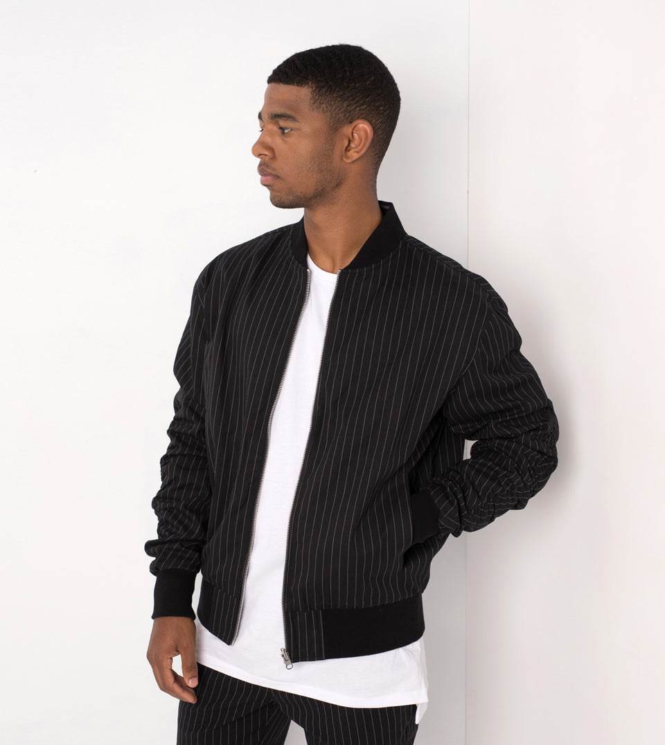 Pinstripe Reversible Bomber Black/White