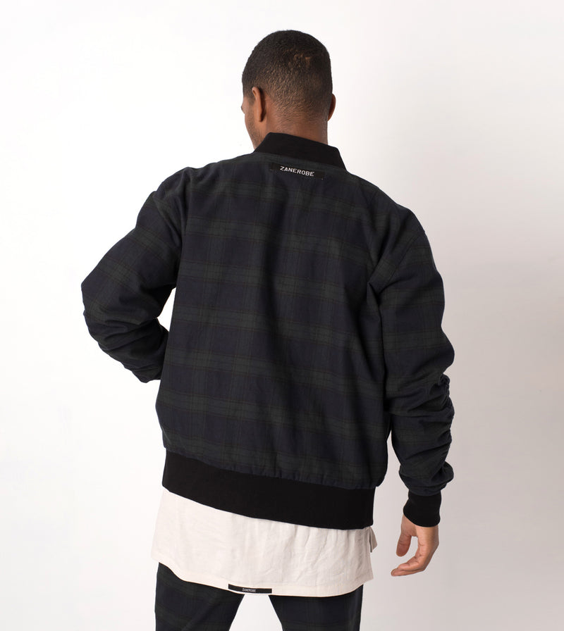 Plaid Reversible Bomber Ink/Forest