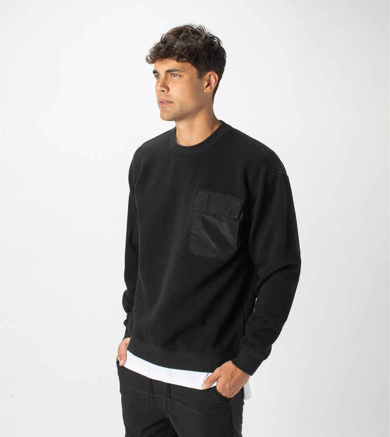 Quilt Lowgo Crew Sweat Black