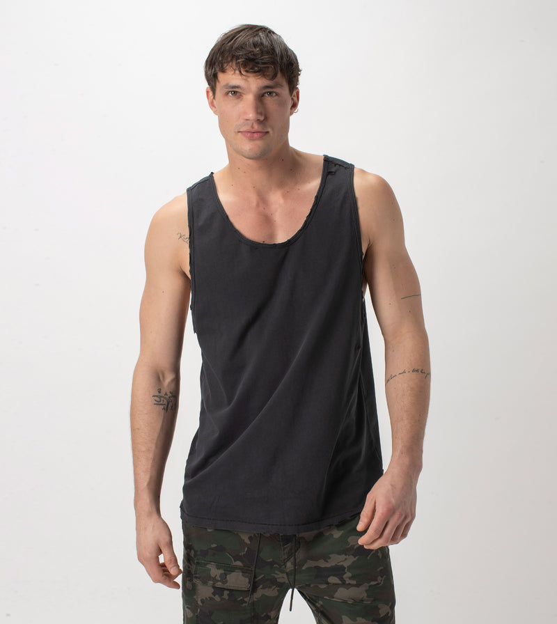 Ripped Rugger Tank GD Black