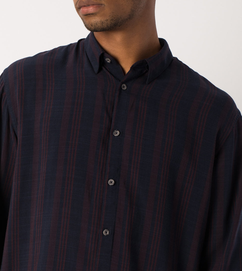 Stripe Rayon LS Shirt Navy/Port