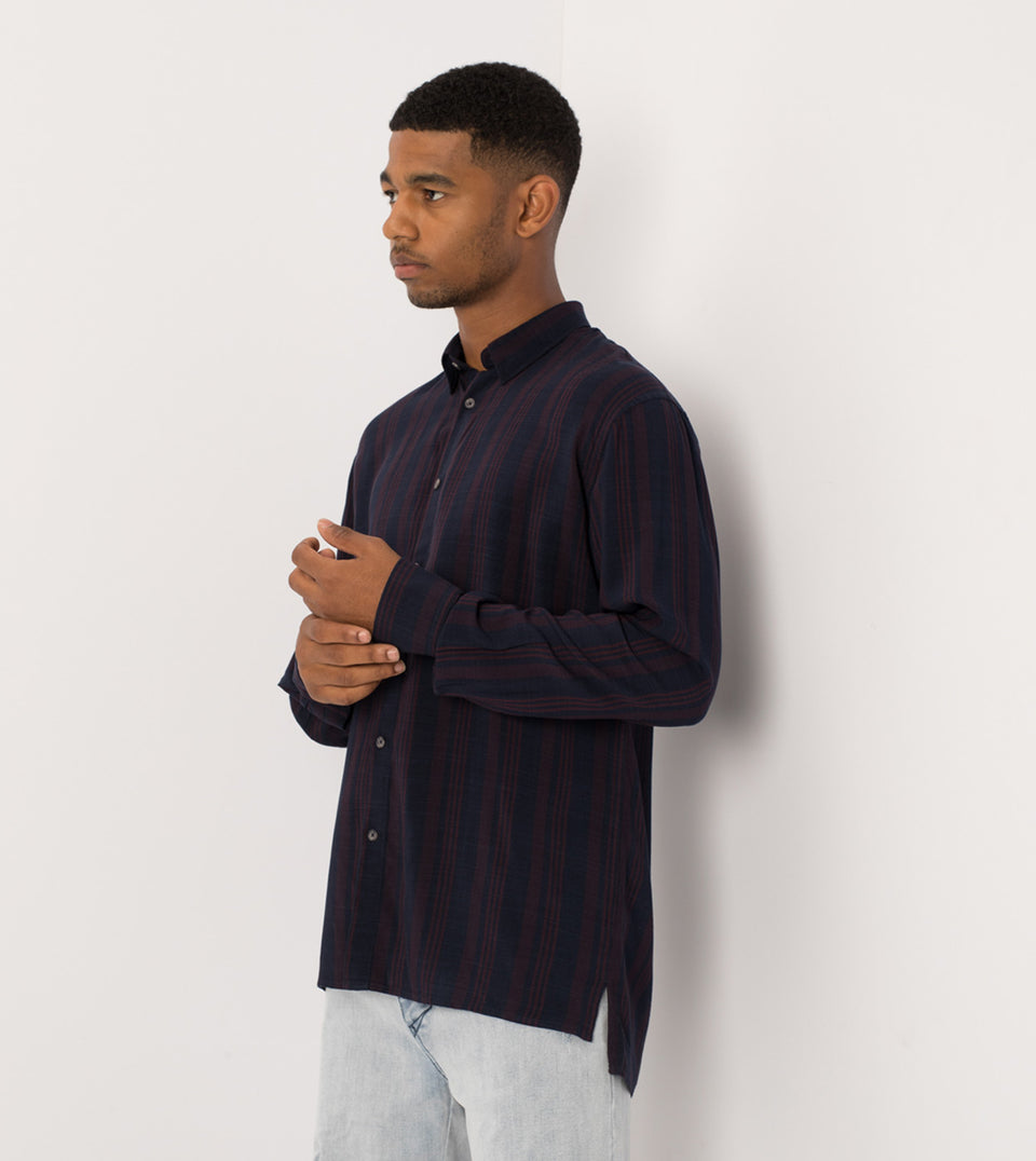 Stripe Rayon LS Shirt Navy/Port - Sale