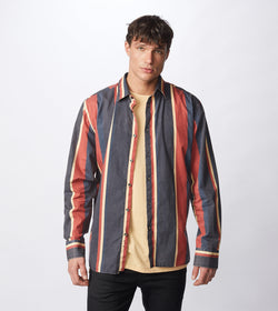 Retro Stripe LS Shirt Black/Ochre - Sale