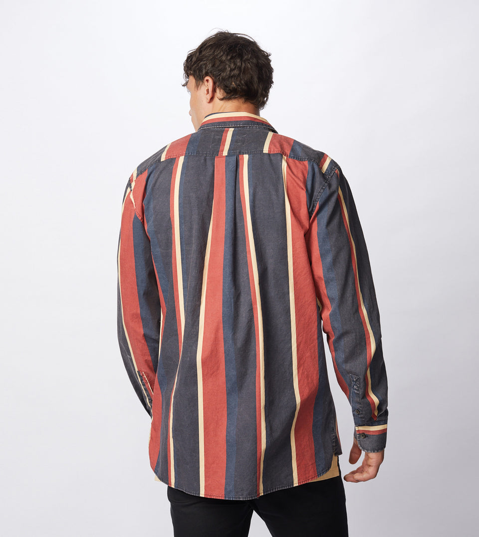 Retro Stripe LS Shirt Black/Ochre