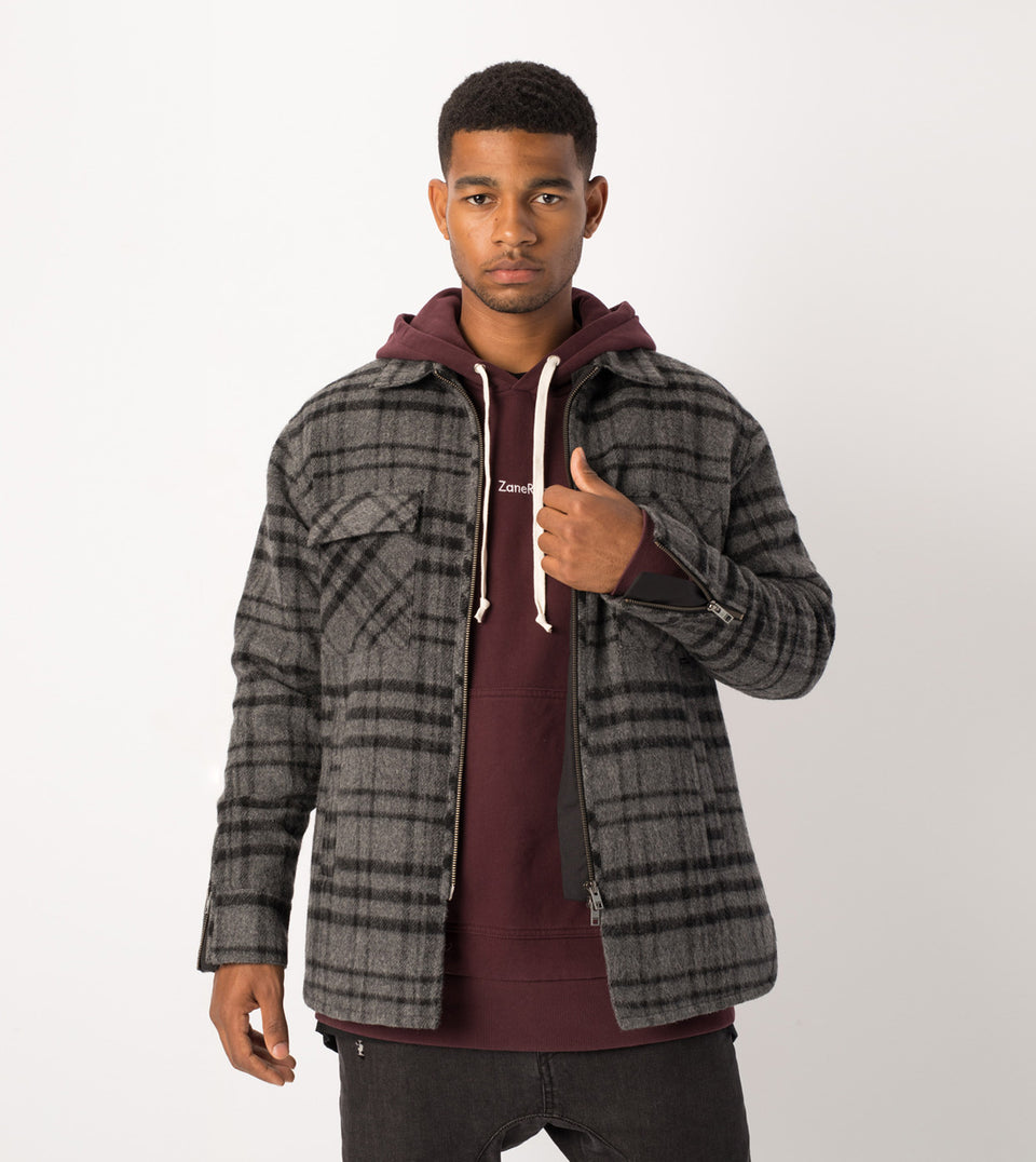 Rugger Plaid Shacket Charcoal Marle/Black
