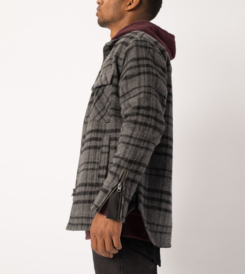 Rugger Plaid Shacket Charcoal Marle/Black - Sale