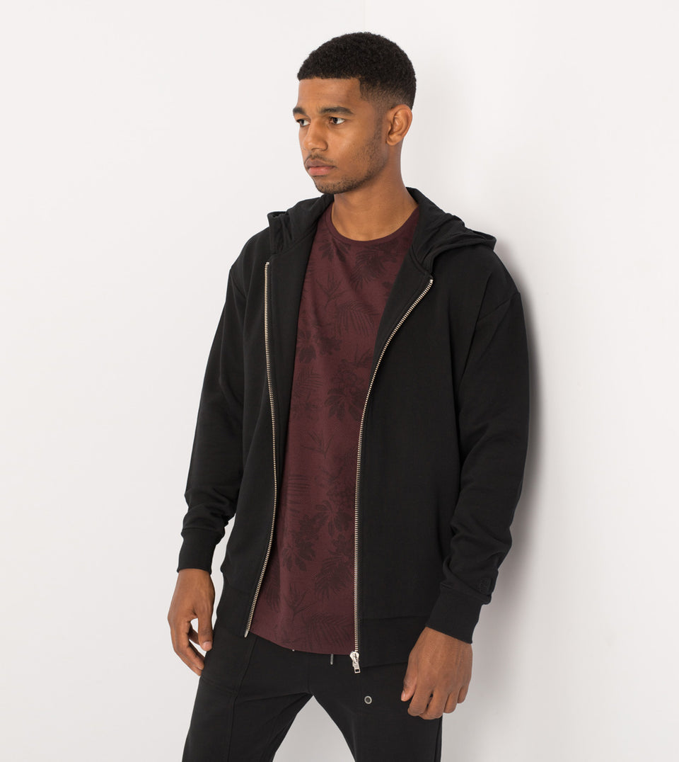Rugger Zip Hood Sweat Black