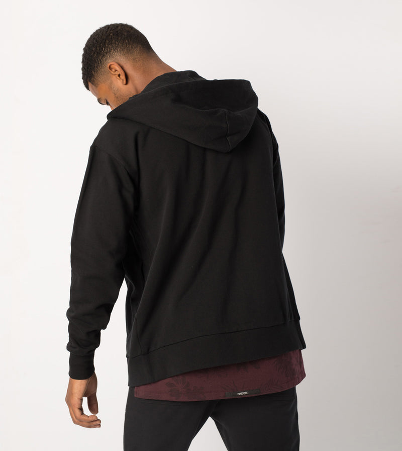 Rugger Zip Hood Sweat Black - Sale